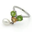 Серебряное кольцо с самоцветами: хризолитом, цитрином и жемчугом SL-02228-410 весом 4.07 г  стоимостью 2800 р.